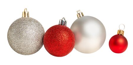 Christmas balls in a row Isolated. Collection of Xmas baubles  on white background.