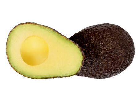 Avocado fruit Isolated on white background. Fresh Black Avocado with leaves, whole and half. Flat lay. Fresh Food Zdjęcie Seryjne