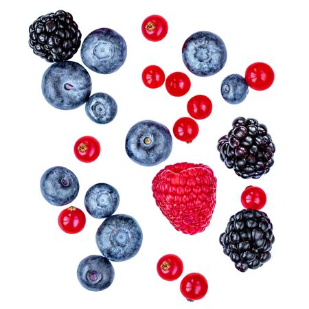 Mix berries isolated on white background, top view. Berry border frame. Flat lay. Standard-Bild