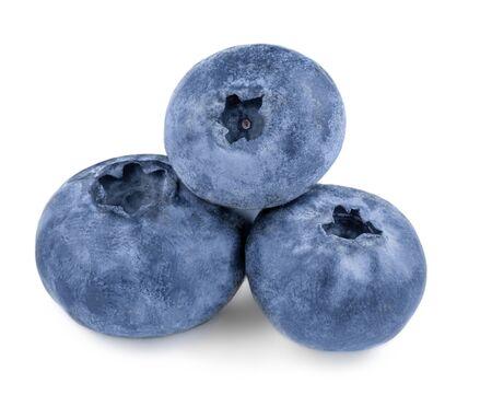 Freshly picked blueberries isolated on white background. Wild berries Macro