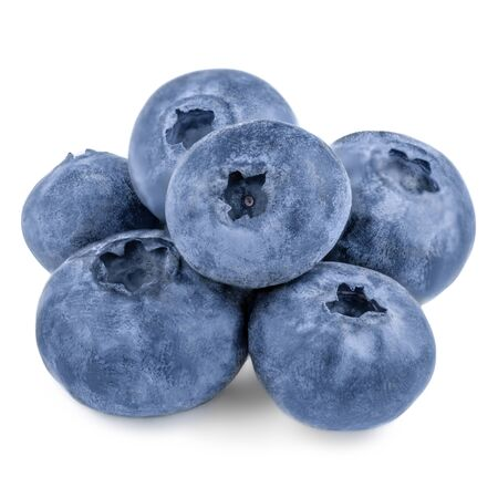 Freshly picked blueberries isolated on white background. Wild berries close up. Summer healthy food.