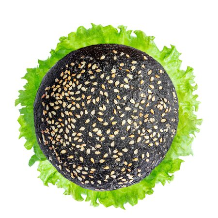 Tasty grilled meat burger with lettuce isolated on white background. Black Burger.  Top view. Fast Food