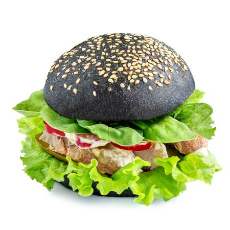Black burger with isolated on white background. Fast Food concept