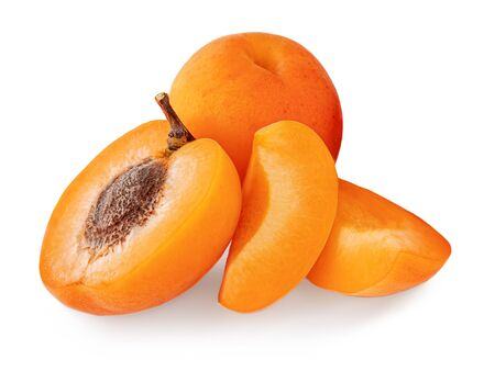 Fresh Apricots. Apricot fruit isolated on the white background. Banco de Imagens