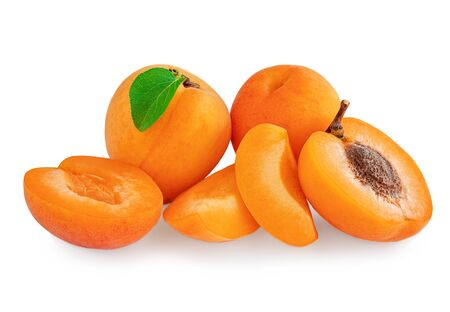 Apricot fruits isolated on the white background. Fresh Apricots with leaf, whole and half close up