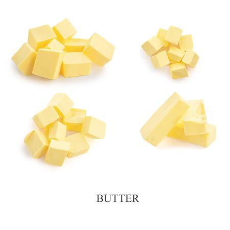 Butter pieces collection isolated on white background. Fresh Butter  cubes set  top view