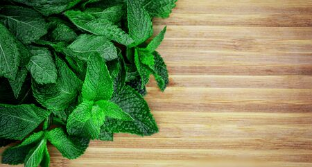 Fresh melissa leaves on wooden cutting board   top view. Chopped mint, copy space. Top view Banco de Imagens
