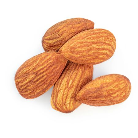 Almond Nuts. Closeup of almonds isolated on the white background. Top view Banco de Imagens