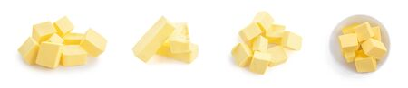 Butter pieces set  isolated on white background. Fresh Butter