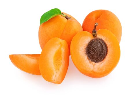 Apricot with  leaves isolated on white background.  Apricot fruit collection