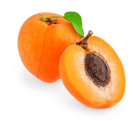 Apricot with  leaves isolated on white background.  Apricot whole and a half fruit collection