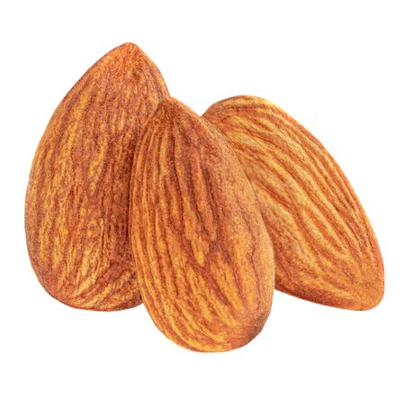 Almond Nuts. Closeup of almonds isolated on the white background Banco de Imagens