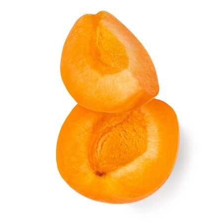 Fresh Apricot. Apricots isolated  on white background close up.
