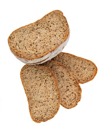 Top view of sliced wholegrain bread  isolated on white background. Top view Banco de Imagens