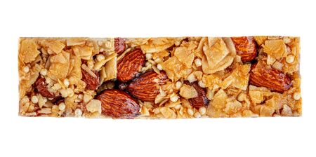 Granola bar isolated on white background. Cereal energy Muesli bar Top view