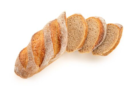 Loaf of bread isolated on white background. Sliced fresh bread. Close up
