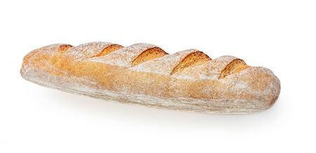 Loaf of bread isolated on white background. Whole fresh bread. Close up