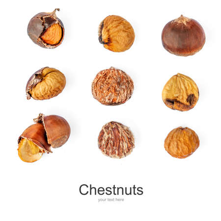 Creative layout made of roasted Chestnuts isolated on white background. Chestnuts Pattern for Christmas