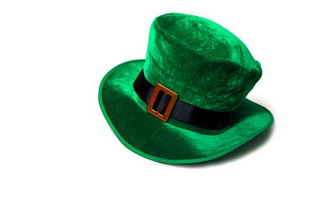 A St. Patricks day costume hat of a leprechaun. Irish green hat on a white background. Stock Photo