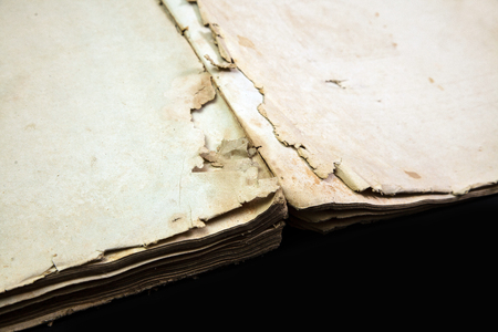 Old book cover, vintage texture, isolated on black background