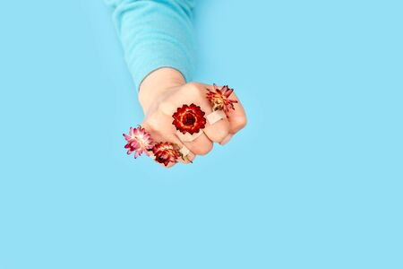 Pink flowers with adhesive patch on the hand in the form of a fist, blue background. Concept of the end of the disease. War for beauty.