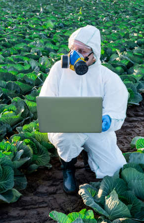 Scientist wearing a white protective equipment, chemical mask and glasses uses Laptop on farm field.