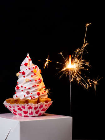 Sparklers and meringue cake on the black background for Valentine's day. Banco de Imagens - 161171180