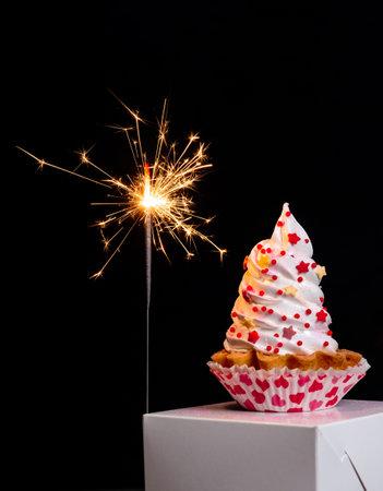 Sparklers and meringue cake on the black background for Valentine's day. Banco de Imagens