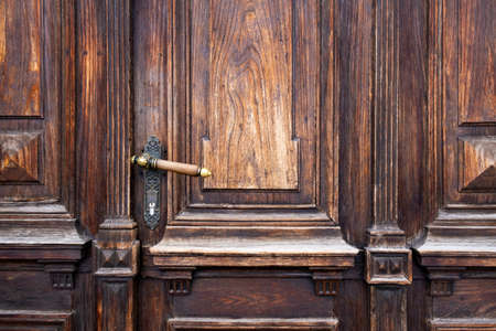 Old Wooden Threaded Door of Brown and Yellow Colors