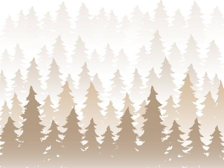 Vector panorama of wild coniferous forest in the morning fog