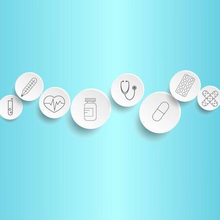 round medical icons isolated on light blue background Illustration