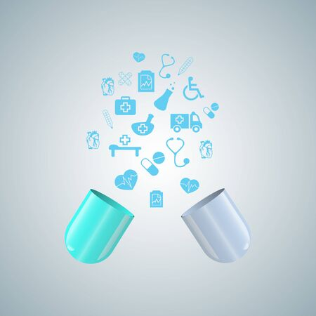 medical badges fly out of the open capsule gray blue background Illustration