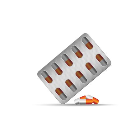 medical blister and red capsules isolated on white background Illustration