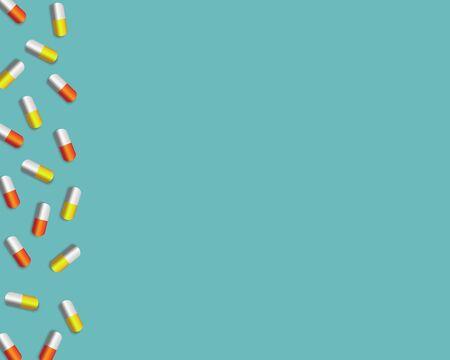 Medical pill background blue background for presentation.Vector illustration