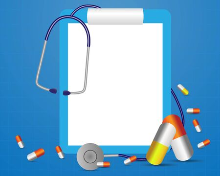 Medical background, vector illustration of medical clipboard and stethoscope and pills isolated on blue background Illustration