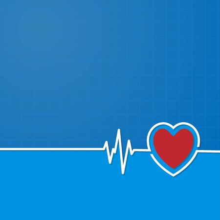 Healthcare concept with text place. Can be used for web banner, infographic, presentation. Heartbeat with heart shape. Cardiogram of love and health. Vector illustrati