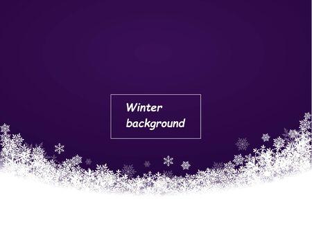 flocons de neige magnifiquement tombés en demi-cercle, fond violet foncé, fond d'hiver