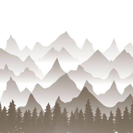 Winter landscape. Flat template design. Vector of winter mountains.Mountains in the fog in the forest, the background of the mountains in the morning landscape. Иллюстрация