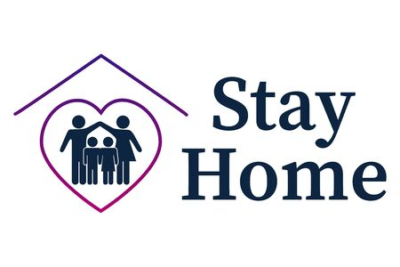 Stay at home slogan with a roof heart and family inside. Protective campaign or measure against coronavirus, COVID 19. Stay at home and quote a text, hash tag, or hashtag. Coronavirus, COVID 19