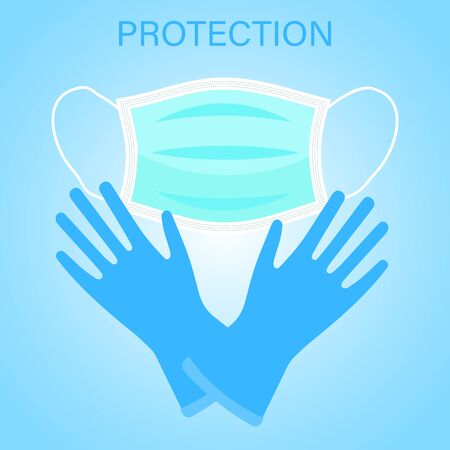 Respiratory medical respiratory mask and gloves. Precautions during the outbreak of the virus.Hospital or environmental pollution to protect the disguise of the face and hands.