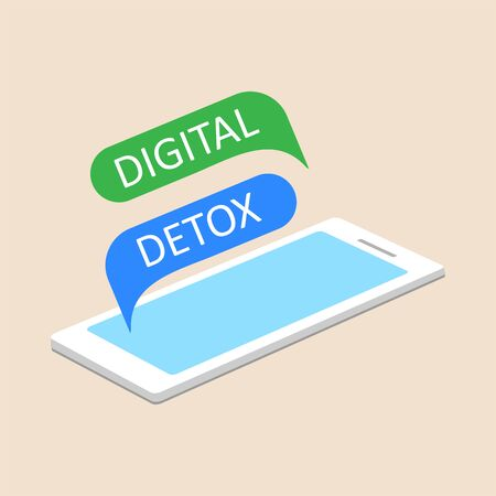 Vector illustration of a mobile phone with speech bubbles digital detoxification. The concept of time for a digital detox.