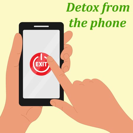 One hand holds the phone, the other simulates pressing the phone's power button. The concept of time for a digital detox. Ilustração