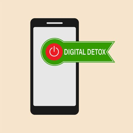 Vector illustration of a banner or sticker from a mobile phone. The concept of a digital detox. 일러스트