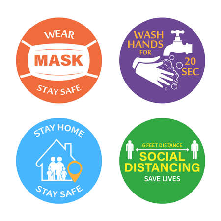 Protection from COVID-19. Set of color stickers wear a mask, wash your hands, stay at home, social distance. Pneumonia virus is a dangerous virus, vector illustration, stop Covid 19 - white background