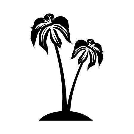 Silhouette of a palm tree on a white background. Palm tree summer  template vector illustration. Ilustracja