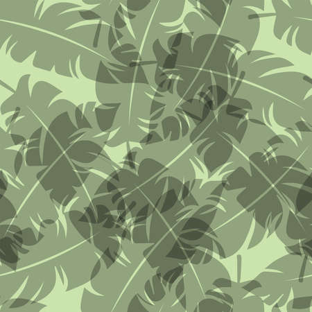 Tropical leaf pattern. Seamless texture with leaves of palm trees. Banner for the travel and tourism industry, summer season. Floral design element, print for fabrics.