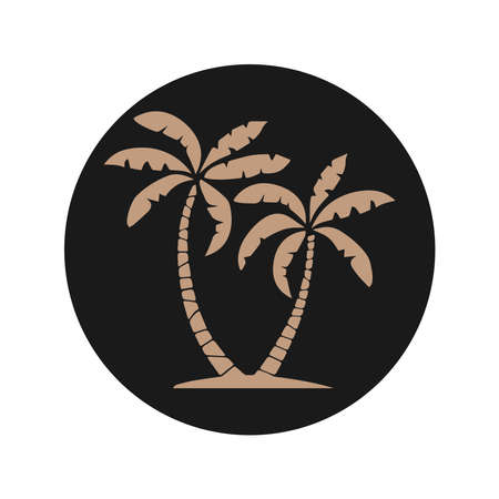 Beige silhouette of palm trees in a black circle isolated on a white background. Vector illustration
