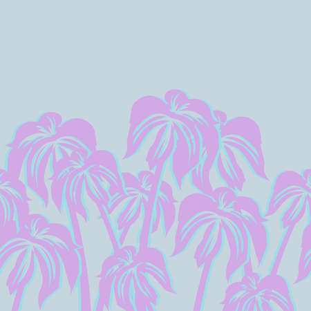 Beautiful seamless vector flower pattern background with palm trees