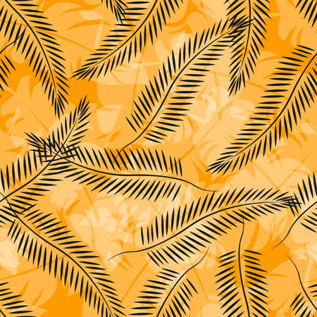Tropical leaf pattern. Seamless texture with leaves of palm trees. Banner for the travel and tourism industry, summer season. Yellow floral design element, print for fabrics. Ilustracja