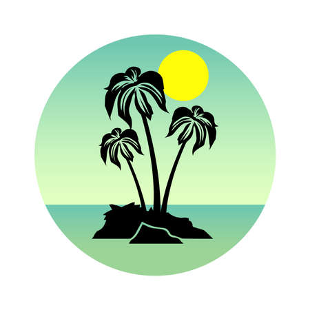 Tropical landscape with palm trees silhouettes on a blue background with a circle. Icons,  or labels.